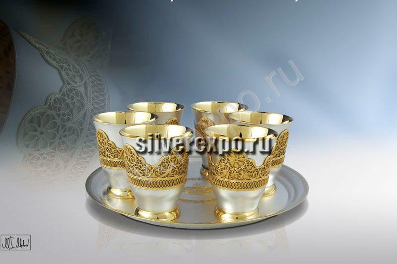 Серебряный набор для вина корона ЗАО «Мстерский Ювелир» 800225