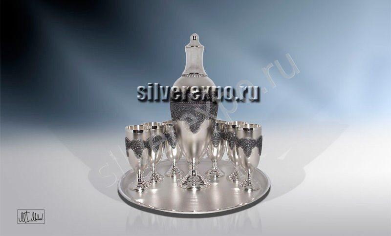 Серебряный набор для водки ЗАО «Мстерский Ювелир» 803825
