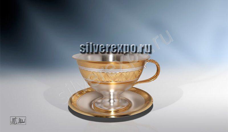 Серебряная чашка Цветок ЗАО «Мстерский Ювелир» С33687700125