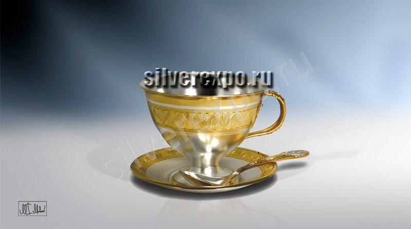 Серебряный чайный набор Цветок ЗАО «Мстерский Ювелир» С33687400125