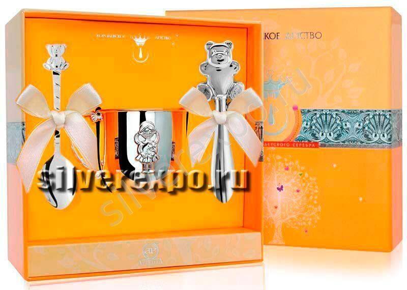 Серебряный набор Мишутка для девочки Фабрика серебра АРГЕНТА 132889
