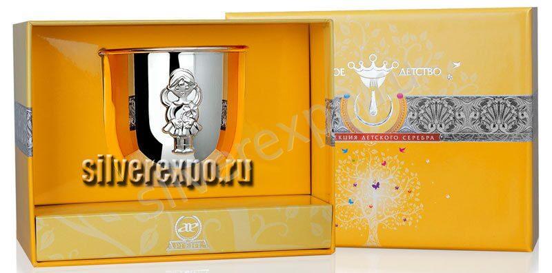 Детский серебряный стакан Девочка Фабрика серебра АРГЕНТА 465СН05001