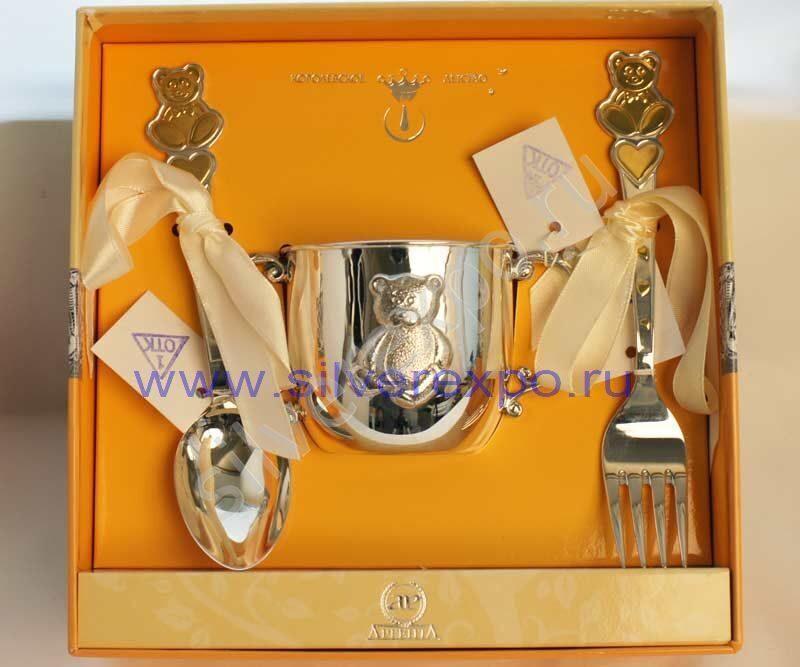 Серебряный детский набор Топтыжка Фабрика серебра АРГЕНТА 288-39а