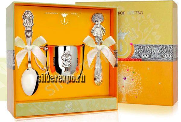 Серебряный набор Кукла Фабрика серебра АРГЕНТА 0568-3а