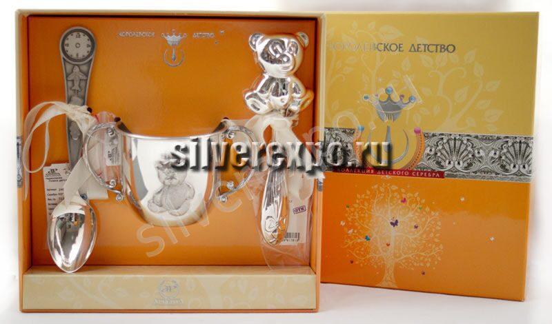 Набор серебра подарок на крестины Фабрика серебра АРГЕНТА АЗ01012