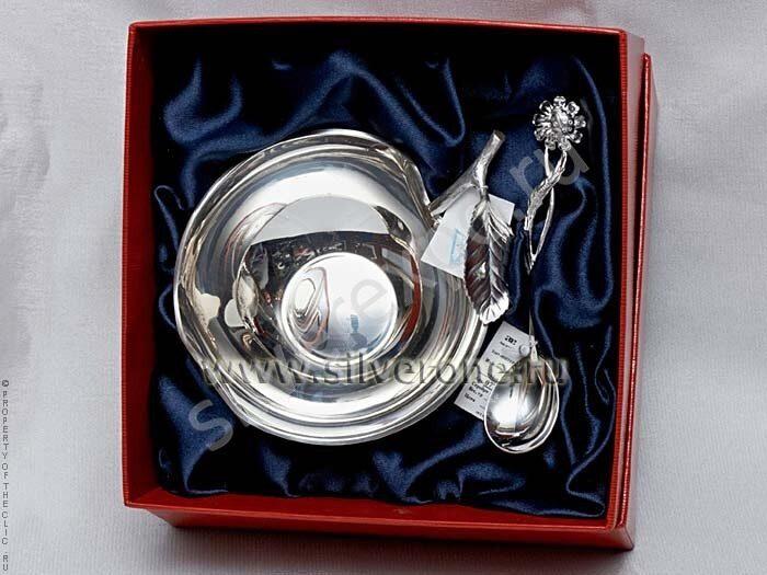 Набор Ваза яблоко серебро ложка ромашка Фабрика серебра АРГЕНТА 038ВЗ00001н1