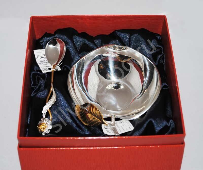 Набор Ваза яблоко серебро ложка ромашка позолота Фабрика серебра АРГЕНТА 038ВЗ00002н1