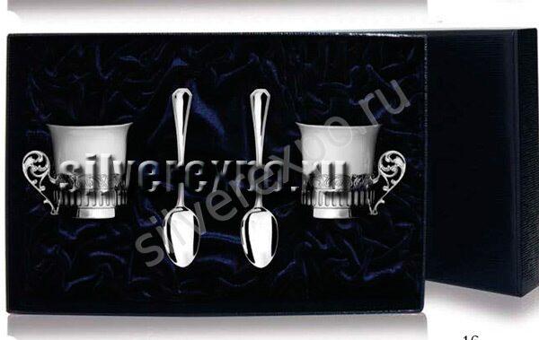 Кофейный серебряный набор Богема Фабрика серебра АРГЕНТА 534ЧШ07001/2