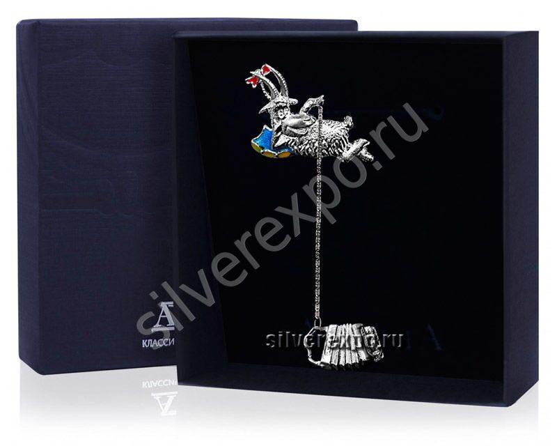Серебряный ионизатор Коза с баяном Фабрика серебра АРГЕНТА 748ИЗ00007
