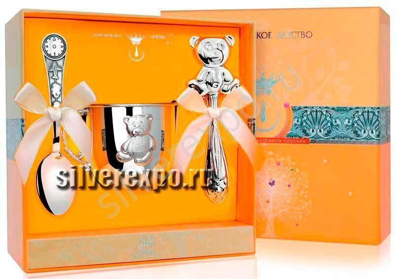 Подарок новорожденному с кружкой мишка Фабрика серебра АРГЕНТА 12НБ17