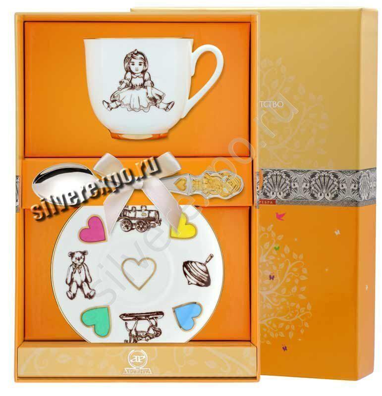 Чайный набор Девочка Фабрика серебра АРГЕНТА 033Ф05