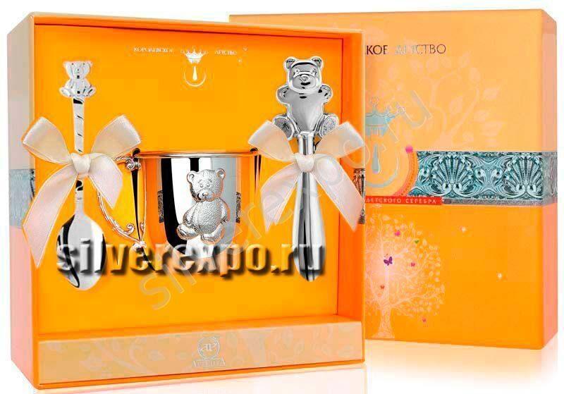 Серебряный набор Мишутка Фабрика серебра АРГЕНТА 370НБ0512