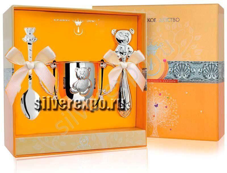Серебряный набор Три медведя с поильником Фабрика серебра АРГЕНТА 12212