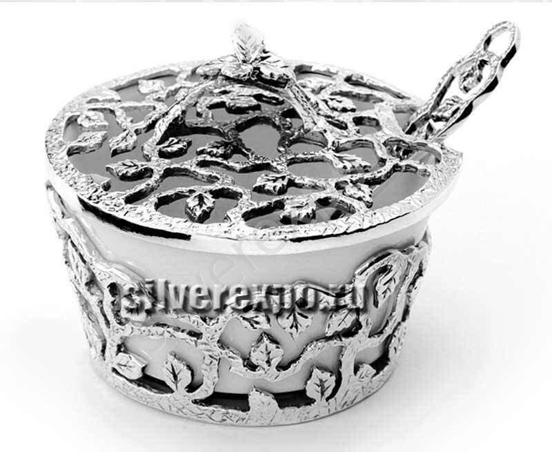Серебряная солонка Листопад с ложкой Фабрика серебра АРГЕНТА 597СЛ00006