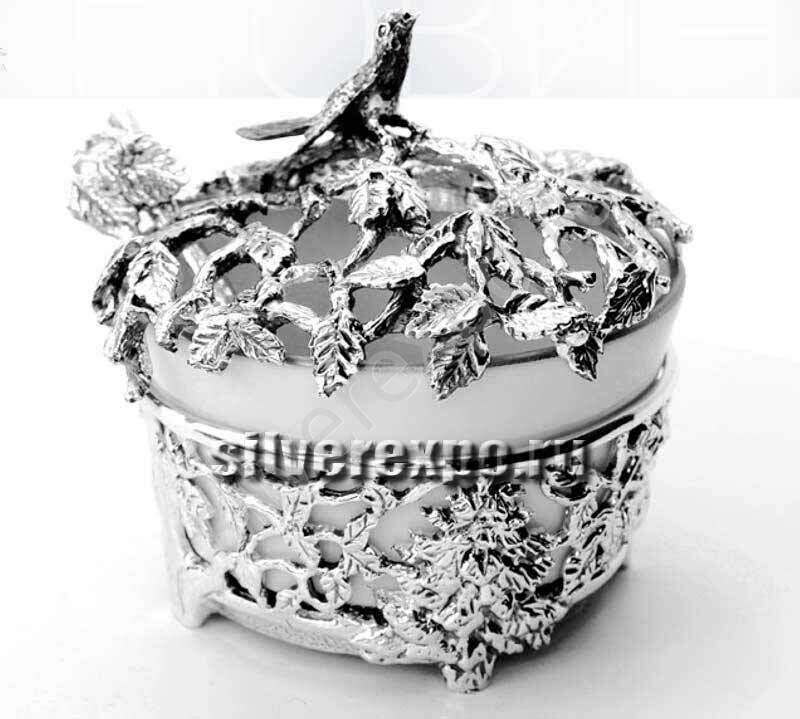 Серебряная солонка Лес с ложкой Фабрика серебра АРГЕНТА 598СЛ00006