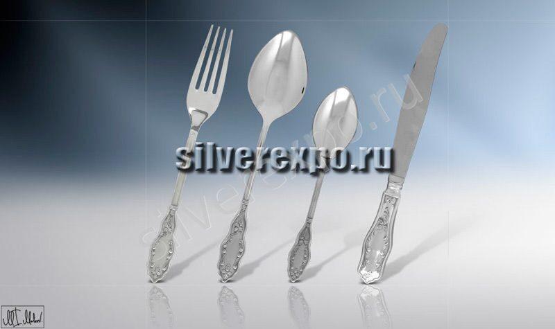 Серебряный столовый набор Вьюнок ЗАО «Мстерский Ювелир» 012НБ0504