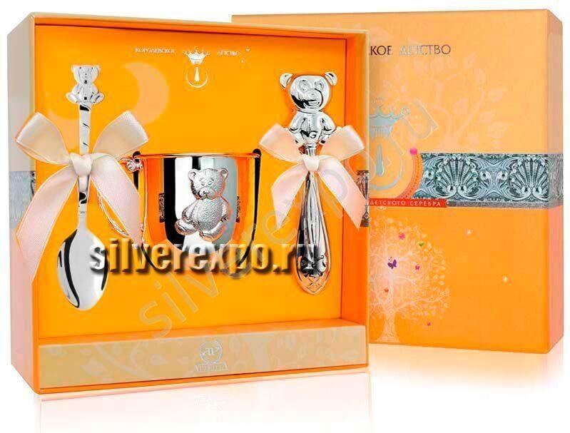 Серебряный набор Три медведя с кружкой Фабрика серебра АРГЕНТА 12211