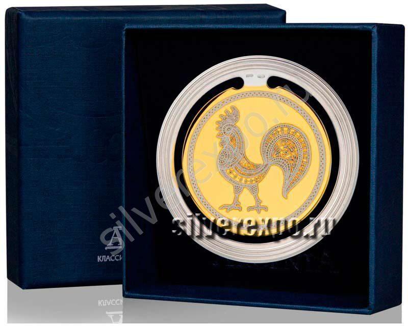 Серебряная закладка для книг Золотой Петушок Фабрика серебра АРГЕНТА 290ЗК22002-2